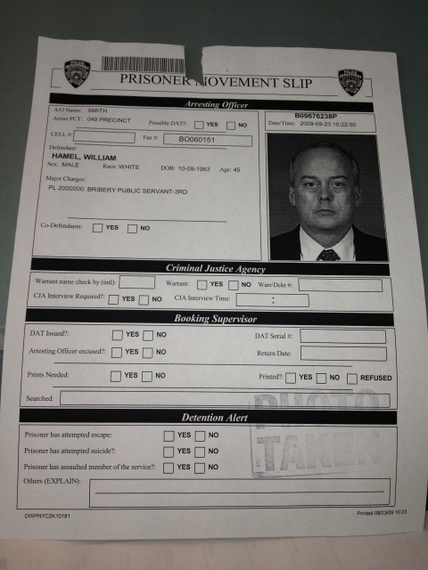 Hamel Mug Shot Prisoner Moverment Slip Courtesy of World-News-Media.com