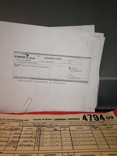"William Hamel's $300K Fine paid in the form od a Bank Check as the Government does not trust him--as well they shouldn't! The amount of the check should demonstrate the seriousness of William Hamel's crimes. Thank goodness for our court sources. The amount of the check should demonstrate the seriousness of William Hamel's crimes.Please notice, First 1/2 of written line in the 6th Column: ""Crim Facil 4"". --(which means Criminal Facilitation). Second written line in the 6th Column: PG--(which means Pleads/Plead Guilty) to 115.00 (Photo Courtesy of World-News-Media)"