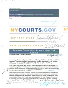 Taken from the public records,(this is one of the documents submitted in an OSC (Order to Show Cause submitted by the litigant in the public record) this is the document was taken from the ecourts website that specifies the Hearing that the has been suspended since 2011 that needs the consent of the parties involved, and that the litigant didn't consent to, yet the abusive tyrannical judge has ordered anyway. (Photo Courtesy of World-News-Media.com)