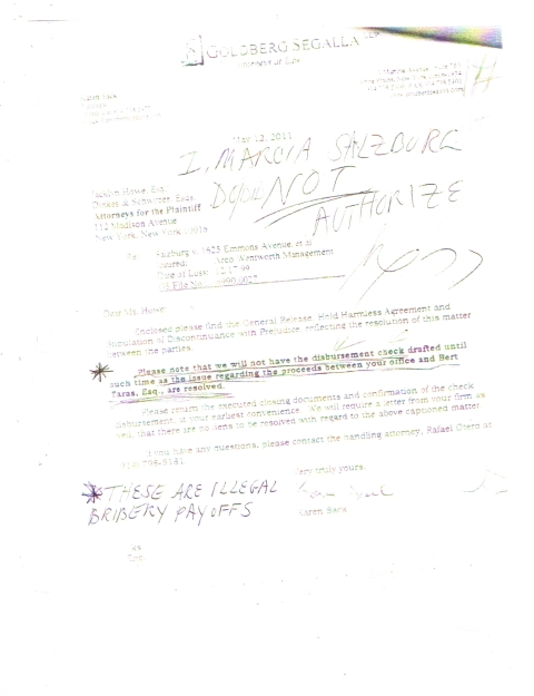 Letter to Dinkes & Schwitzer, Plaintiff's Attorneys, funnelled through one of their minor attorneys,-- who has since left the firm, --(We wonder why. But then not really as it is allegedly, (uh-huh),  in line with the tremendous turnover of lawyers and employees seeking refuge and shelter away from Dinkes & Schwitzer into the arms of an honest law firm), elaborating on illegal pay-offs to them  from Defendant's attorneys Goldberg Segalla. Which neither firm or anyone in this letter have ever been able to explain--legally the contents of-Surprise! Photo Courtesy of world-new-media.com