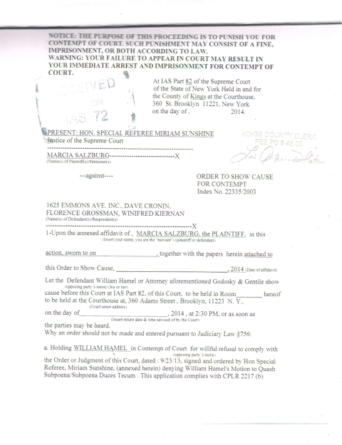 Original and only Legitimate/Legal Order to Show Cause signed and Stamped by County Clerk's Office and by ex parte Office with Special Referee's Sunshine's name on it. This is the only document that should be legitimate. Photo courtesy of World-News-Media.com