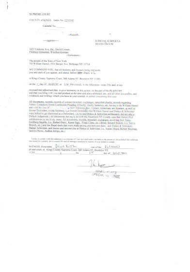 4-27-14 Hamel Subpoena Original Signed by Nina Kurtz 34 berger Avenue Ave. ave My Name Marcia Salzburg CROSSED  Out crossed Crossed Out OUT 27042014_3