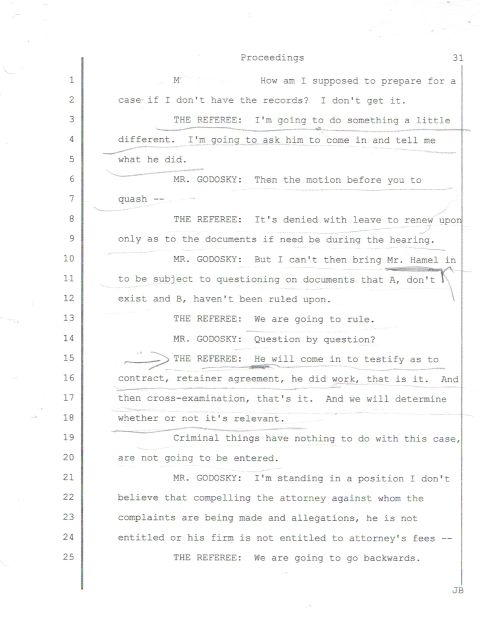 The minutes from the transcript of 9/11/13 court appearance where Sunshine demands Hamel shows up in court