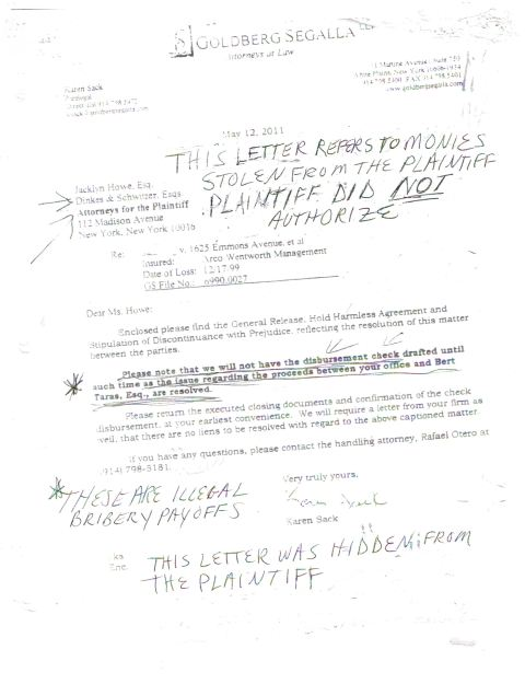 Goldberg Segalla covert 5-12-05 Kickback letter to Dinkes & Schwitzer/Schwitzer & Associates in response to Taras' 5/2/05  fax. PHoto courtesy of world-news-media.com