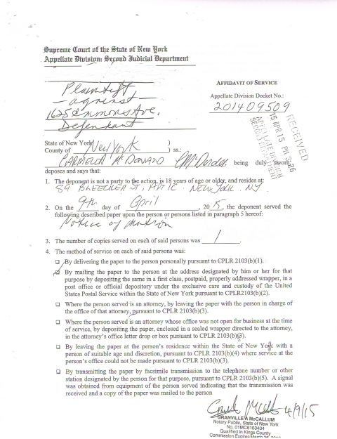 Side 1 of the Affidavit of Service that Godosky  boldly lies in reference to the Affidavit of Service as it is perfect and perfectly acceptable. Photo courtesy of world-news-media.com