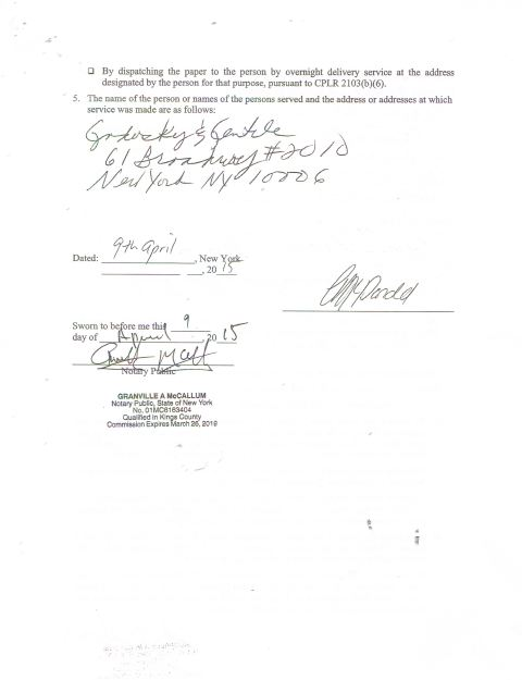 Side 2 of the non-defective Affidavit of Service that Richard Godosky who apparently doesn't know Appellate Law and Procedure. Photo courtesy of  world-news-media.com